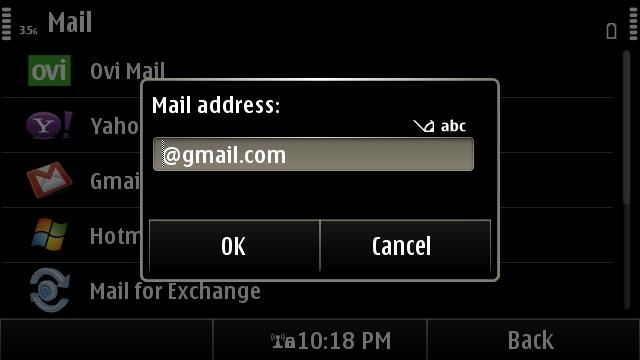 Nokia email setup screen